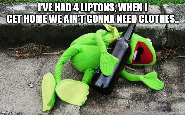 Drunk Kermit | I'VE HAD 4 LIPTONS, WHEN I GET HOME WE AIN'T GONNA NEED CLOTHES.. | image tagged in drunk kermit | made w/ Imgflip meme maker
