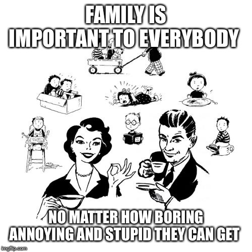 Big Family Comeback | FAMILY IS IMPORTANT TO EVERYBODY NO MATTER HOW BORING ANNOYING AND STUPID THEY CAN GET | image tagged in memes,big family comeback | made w/ Imgflip meme maker