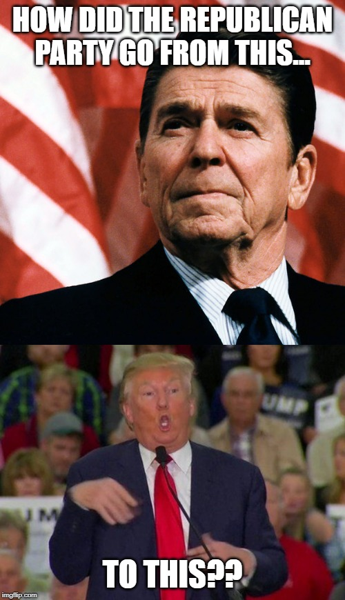 Seriously... | HOW DID THE REPUBLICAN PARTY GO FROM THIS... TO THIS?? | image tagged in ronald reagan,donald trump,republican party | made w/ Imgflip meme maker