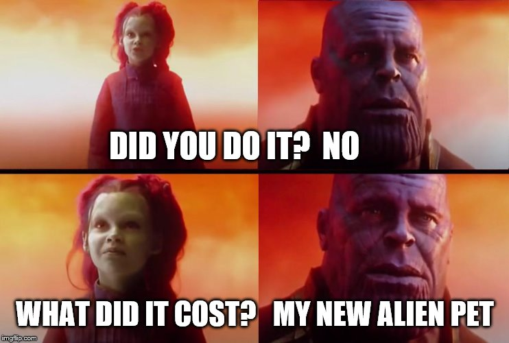 thanos what did it cost |  DID YOU DO IT?  NO; WHAT DID IT COST?   MY NEW ALIEN PET | image tagged in thanos what did it cost | made w/ Imgflip meme maker