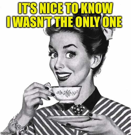 IT'S NICE TO KNOW I WASN'T THE ONLY ONE | image tagged in vintage coffee | made w/ Imgflip meme maker