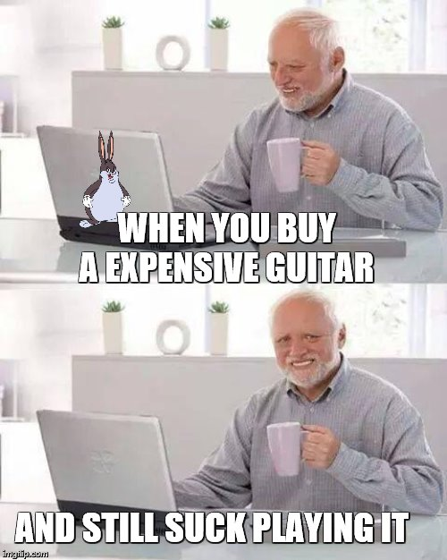 Hide the Pain Harold |  WHEN YOU BUY A EXPENSIVE GUITAR; AND STILL SUCK PLAYING IT | image tagged in memes,hide the pain harold | made w/ Imgflip meme maker