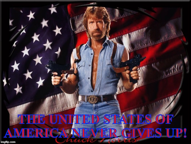 THE UNITED STATES OF AMERICA NEVER GIVES UP! | image tagged in chuck norris us flag | made w/ Imgflip meme maker