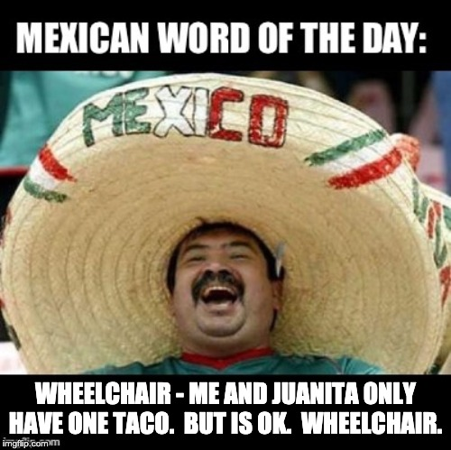 Mexican Word of the Day (LARGE) | WHEELCHAIR - ME AND JUANITA ONLY HAVE ONE TACO.  BUT IS OK.  WHEELCHAIR. | image tagged in mexican word of the day large | made w/ Imgflip meme maker