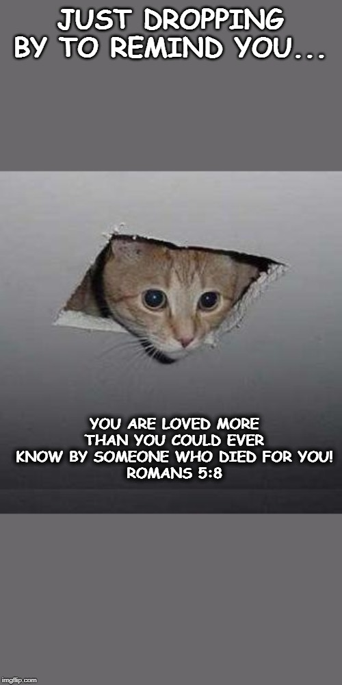 Romans 5:8 | JUST DROPPING BY TO REMIND YOU... YOU ARE LOVED MORE THAN YOU COULD EVER KNOW BY SOMEONE WHO DIED FOR YOU! ROMANS 5:8 | image tagged in bible verse,love,god | made w/ Imgflip meme maker