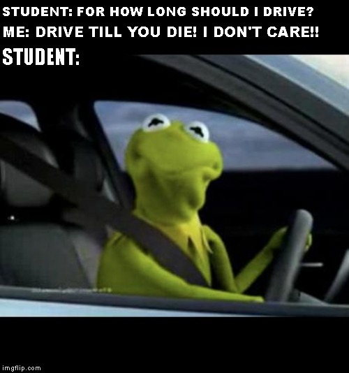 When you work at the driving school when you are tired: |  STUDENT: FOR HOW LONG SHOULD I DRIVE? STUDENT:; ME: DRIVE TILL YOU DIE! I DON'T CARE!! | image tagged in kermit driving | made w/ Imgflip meme maker