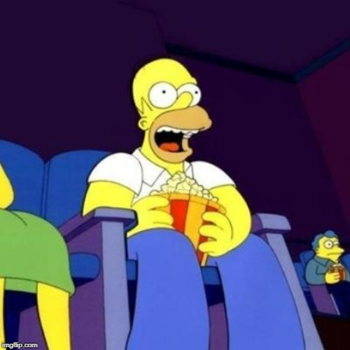 Homer eating popcorn | image tagged in homer eating popcorn | made w/ Imgflip meme maker