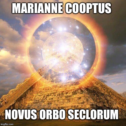 The Orb Seal | MARIANNE COOPTUS NOVUS ORBO SECLORUM | image tagged in marianne,orbs,pyramids,pyramid,money | made w/ Imgflip meme maker