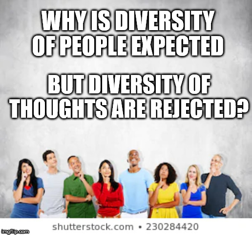Diversity | WHY IS DIVERSITY OF PEOPLE EXPECTED BUT DIVERSITY OF THOUGHTS ARE REJECTED? | image tagged in diversity,hate,liberal,liberal vs conservative,democratic socialism,communist socialist | made w/ Imgflip meme maker
