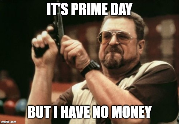 I already spent my paycheck on Amazon |  IT'S PRIME DAY; BUT I HAVE NO MONEY | image tagged in memes,am i the only one around here,prime day,money | made w/ Imgflip meme maker