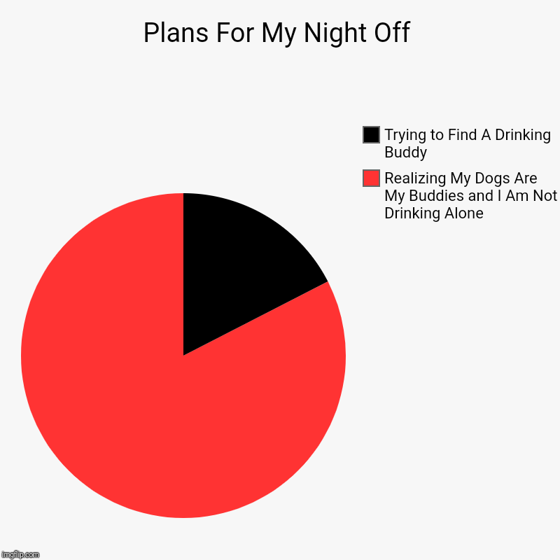 Plans For My Night Off | Realizing My Dogs Are My Buddies and I Am Not Drinking Alone , Trying to Find A Drinking Buddy | image tagged in charts,pie charts | made w/ Imgflip chart maker