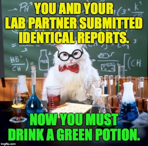 Chemistry Cat Meme | YOU AND YOUR LAB PARTNER SUBMITTED IDENTICAL REPORTS. NOW YOU MUST DRINK A GREEN POTION. | image tagged in memes,chemistry cat | made w/ Imgflip meme maker