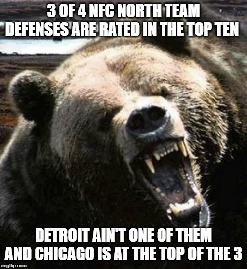 2019 BEARS | 3 OF 4 NFC NORTH TEAM DEFENSES ARE RATED IN THE TOP TEN DETROIT AIN'T ONE OF THEM AND CHICAGO IS AT THE TOP OF THE 3 | image tagged in chicago bears,bears,da bears,packers,vikings,lions | made w/ Imgflip meme maker