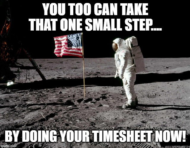 Moon landing timesheet reminder | YOU TOO CAN TAKE THAT ONE SMALL STEP.... BY DOING YOUR TIMESHEET NOW! | image tagged in moon landing timesheet reminder,timesheet reminder,timesheet meme,moon landing | made w/ Imgflip meme maker
