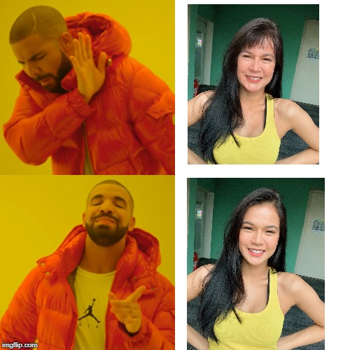 Maris Racal's Faceapp Challenge | image tagged in memes,drake hotline bling | made w/ Imgflip meme maker