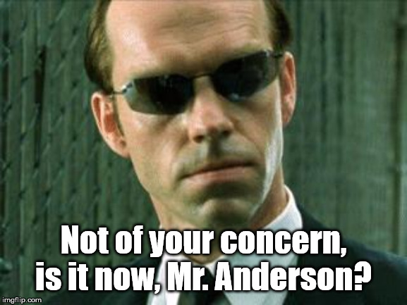 Agent Smith Matrix | Not of your concern, is it now, Mr. Anderson? | image tagged in agent smith matrix | made w/ Imgflip meme maker