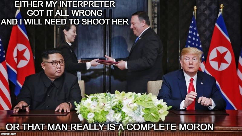 No one is home upstairs | EITHER MY INTERPRETER GOT IT ALL WRONG AND I WILL NEED TO SHOOT HER OR THAT MAN REALLY IS A COMPLETE MORON | image tagged in memes,politics,maga,impeach trump,north korea,dotard | made w/ Imgflip meme maker