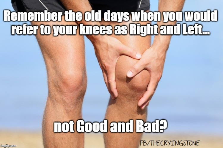 knees | Remember the old days when you would refer to your knees as Right and Left... not Good and Bad? | image tagged in knees | made w/ Imgflip meme maker