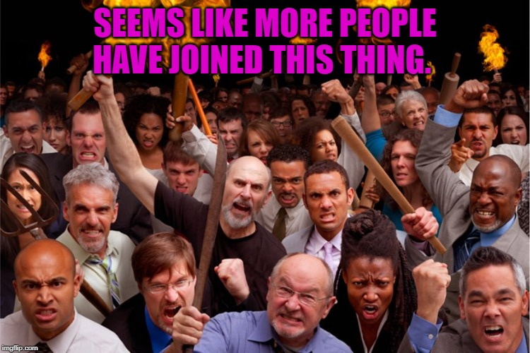 pitchforks torches rolling pin angry crowd | SEEMS LIKE MORE PEOPLE HAVE JOINED THIS THING. | image tagged in pitchforks torches rolling pin angry crowd | made w/ Imgflip meme maker