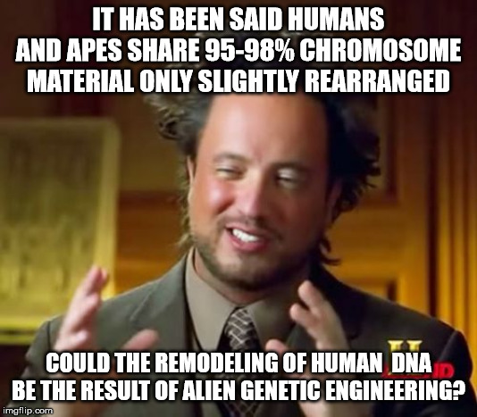 Ancient Aliens | IT HAS BEEN SAID HUMANS AND APES SHARE 95-98% CHROMOSOME MATERIAL ONLY SLIGHTLY REARRANGED COULD THE REMODELING OF HUMAN  DNA BE THE RESULT  | image tagged in memes,ancient aliens | made w/ Imgflip meme maker