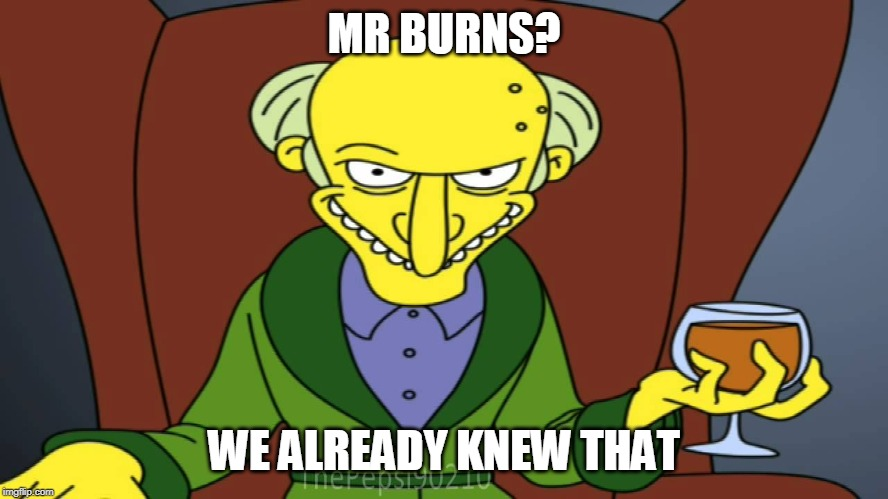 MR BURNS? WE ALREADY KNEW THAT | image tagged in mr burns release the hounds | made w/ Imgflip meme maker