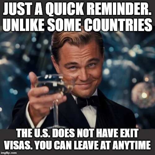 Leonardo Dicaprio Cheers | JUST A QUICK REMINDER. UNLIKE SOME COUNTRIES THE U.S. DOES NOT HAVE EXIT VISAS. YOU CAN LEAVE AT ANYTIME | image tagged in memes,leonardo dicaprio cheers | made w/ Imgflip meme maker