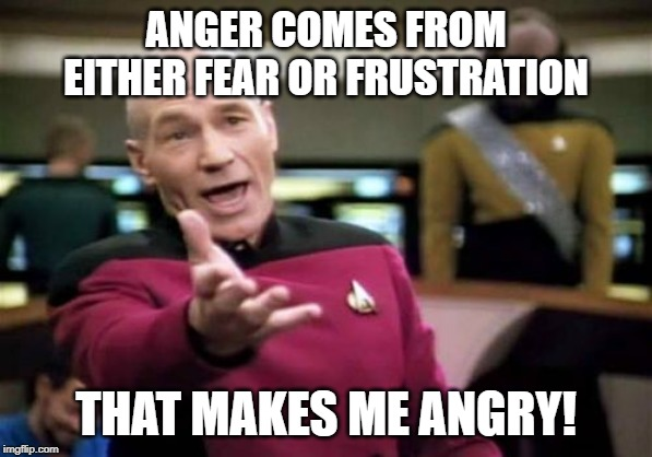 Frustration is my guiding star | ANGER COMES FROM EITHER FEAR OR FRUSTRATION THAT MAKES ME ANGRY! | image tagged in memes,picard wtf,anger,fear,frustration | made w/ Imgflip meme maker