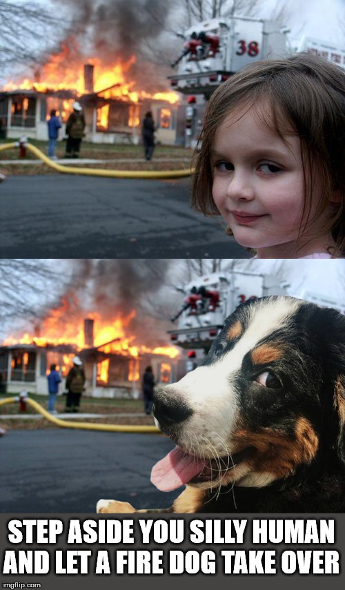 There is a new sheriff in town | STEP ASIDE YOU SILLY HUMAN AND LET A FIRE DOG TAKE OVER | image tagged in memes,disaster girl,frontpage | made w/ Imgflip meme maker