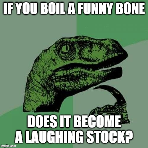 This is pretty humerus | IF YOU BOIL A FUNNY BONE DOES IT BECOME A LAUGHING STOCK? | image tagged in memes,philosoraptor,jokes,funny | made w/ Imgflip meme maker