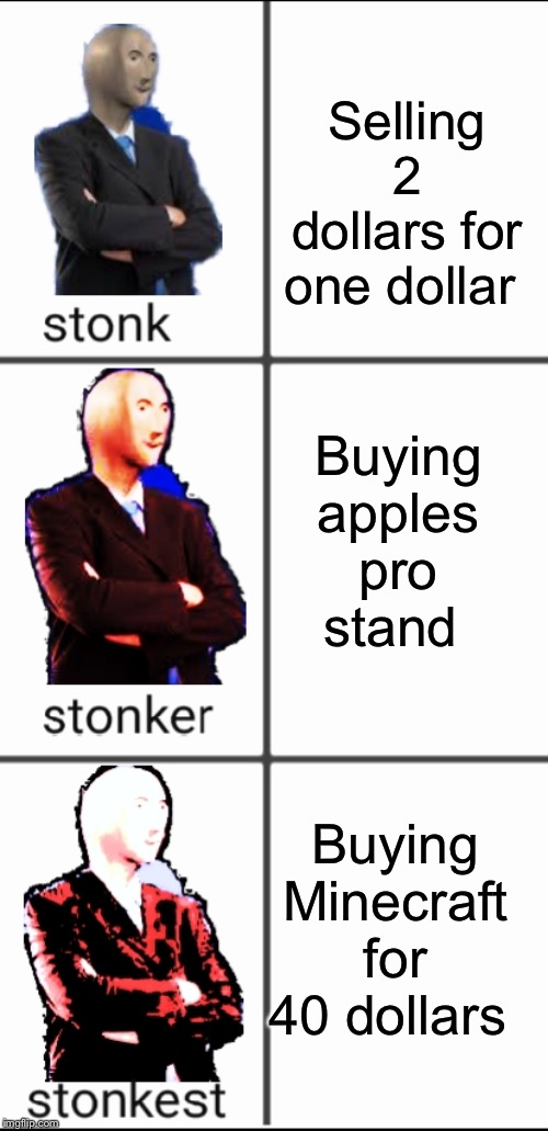 Stonk by level | Selling 2 dollars for one dollar Buying apples pro stand Buying Minecraft for 40 dollars | image tagged in stonk by level | made w/ Imgflip meme maker