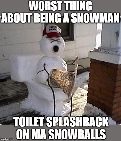 WORST THING ABOUT BEING A SNOWMAN TOILET SPLASHBACK ON MA SNOWBALLS | made w/ Imgflip meme maker