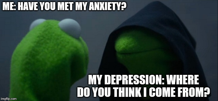 Evil Kermit | ME: HAVE YOU MET MY ANXIETY? MY DEPRESSION: WHERE DO YOU THINK I COME FROM? | image tagged in memes,evil kermit | made w/ Imgflip meme maker