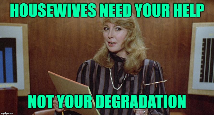 Marketing to Housewives 101 | HOUSEWIVES NEED YOUR HELP NOT YOUR DEGRADATION | image tagged in teri garr,marketing,housewife,so true memes,consumerism,mr mom | made w/ Imgflip meme maker