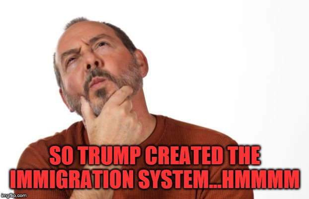 pondering  that... | SO TRUMP CREATED THE IMMIGRATION SYSTEM...HMMMM | image tagged in pondering that | made w/ Imgflip meme maker