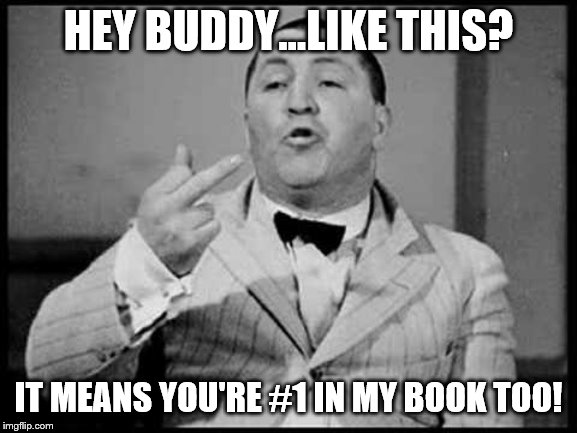 Curly stink finger | HEY BUDDY...LIKE THIS? IT MEANS YOU'RE #1 IN MY BOOK TOO! | image tagged in curly stink finger | made w/ Imgflip meme maker