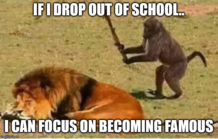 Bad Decisions |  IF I DROP OUT OF SCHOOL.. I CAN FOCUS ON BECOMING FAMOUS | image tagged in bad decisions | made w/ Imgflip meme maker