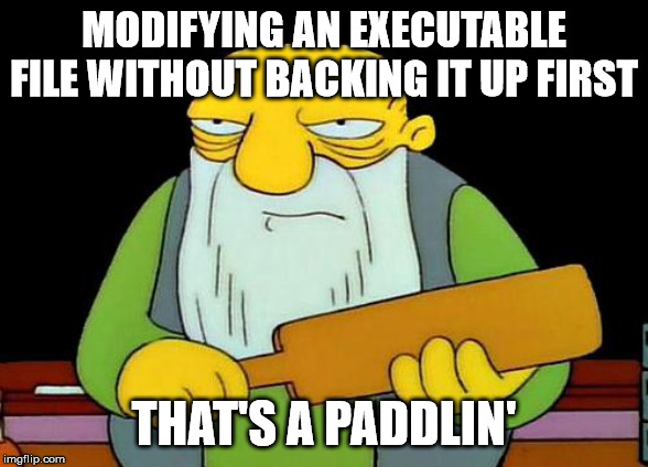 That's a paddlin' |  MODIFYING AN EXECUTABLE FILE WITHOUT BACKING IT UP FIRST; THAT'S A PADDLIN' | image tagged in memes,that's a paddlin' | made w/ Imgflip meme maker