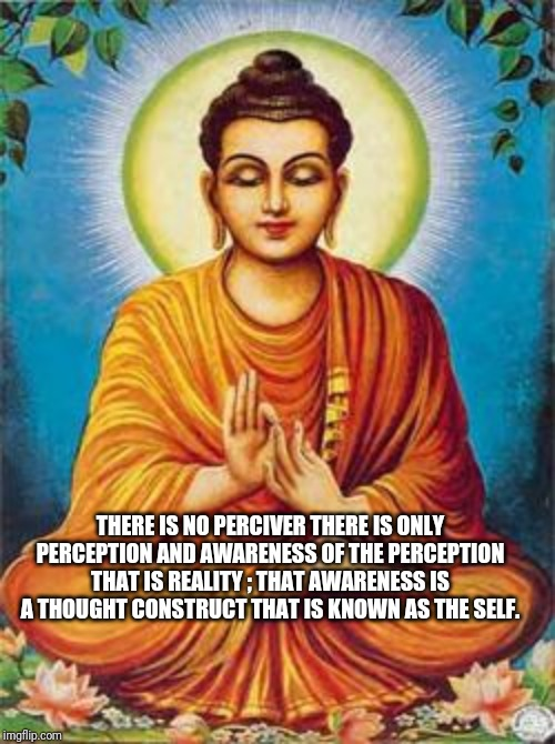 buddha | THERE IS NO PERCIVER THERE IS ONLY PERCEPTION AND AWARENESS OF THE PERCEPTION THAT IS REALITY ; THAT AWARENESS IS A THOUGHT CONSTRUCT THAT I | image tagged in buddha | made w/ Imgflip meme maker