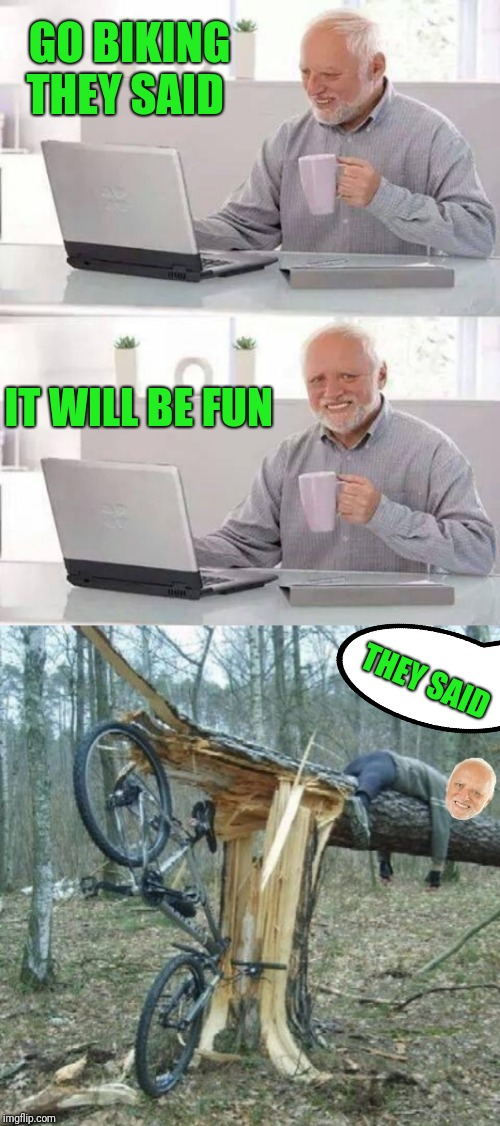 We'll have a smashing good time ;) | GO BIKING THEY SAID IT WILL BE FUN THEY SAID | image tagged in memes,hide the pain harold,biking,trees,44colt,bikes | made w/ Imgflip meme maker
