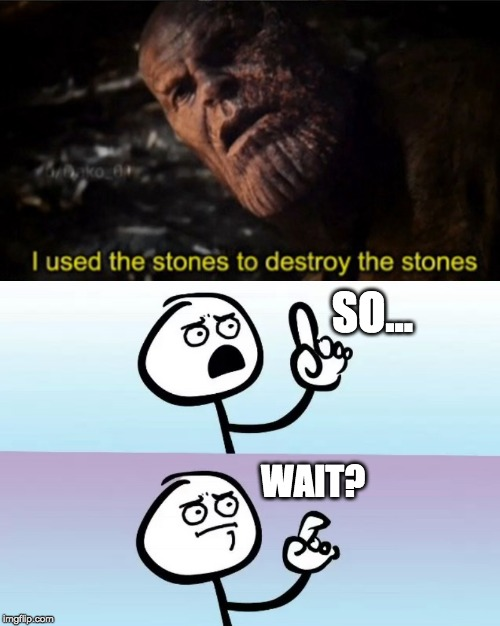 How can he destroy the stones with only the stones? | SO... WAIT? | image tagged in speechless,memes,mcu,thanos,avengers endgame,spoilers | made w/ Imgflip meme maker