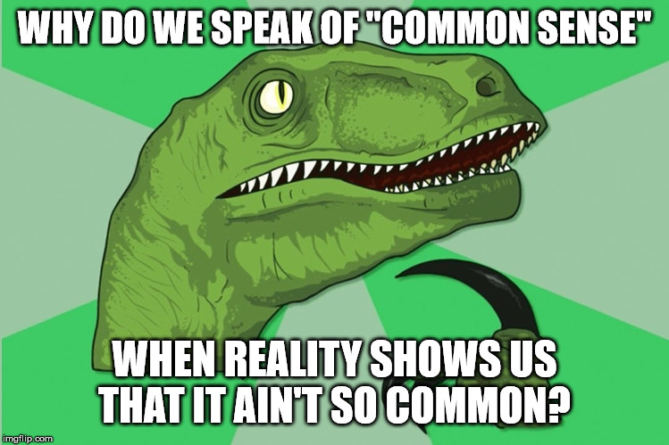 "new philosoraptor | WHY DO WE SPEAK OF ""COMMON SENSE"" WHEN REALITY SHOWS US THAT IT AIN'T SO COMMON? 