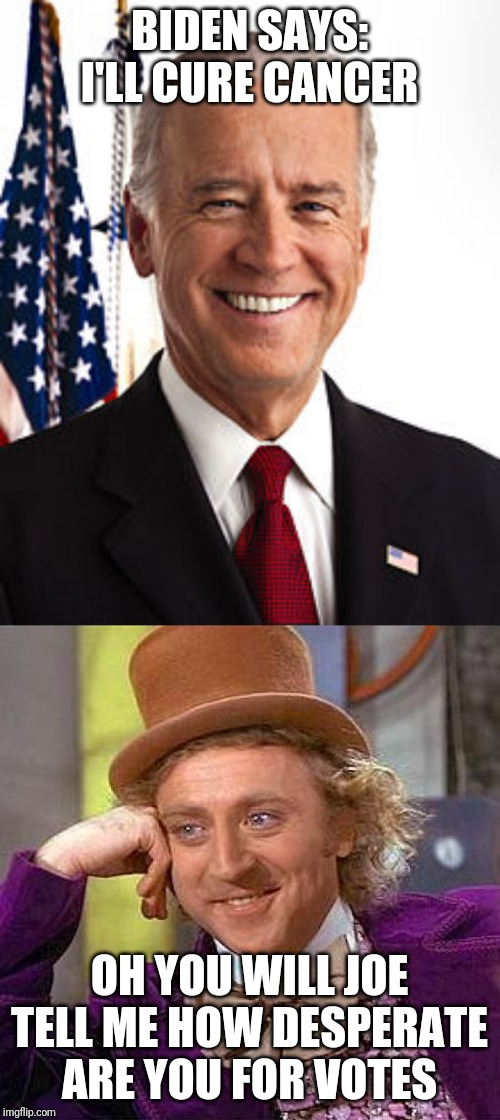 BIDEN SAYS: I'LL CURE CANCER OH YOU WILL JOE TELL ME HOW DESPERATE ARE YOU FOR VOTES | image tagged in memes,creepy condescending wonka,joe biden | made w/ Imgflip meme maker