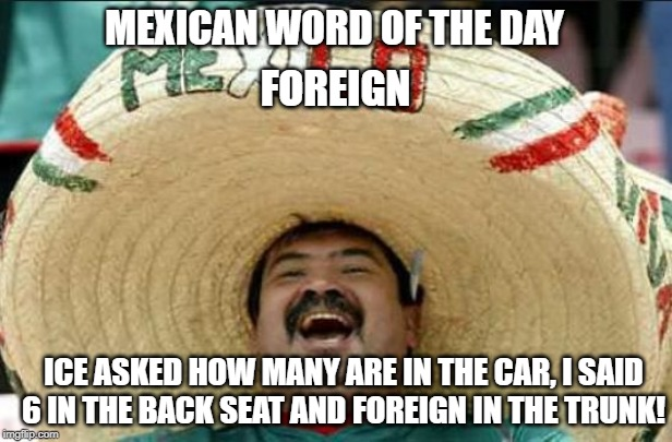 Mexican Word of the Day |  MEXICAN WORD OF THE DAY; FOREIGN; ICE ASKED HOW MANY ARE IN THE CAR, I SAID 6 IN THE BACK SEAT AND FOREIGN IN THE TRUNK! | image tagged in mexican word of the day,ice,mexican,border | made w/ Imgflip meme maker