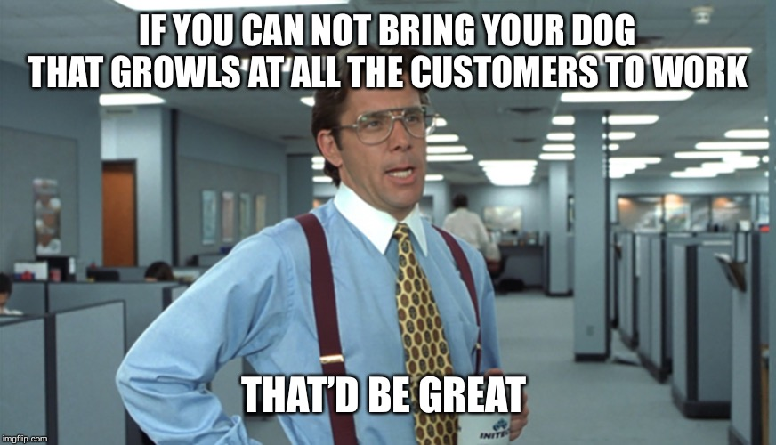 Office Space Bill Lumbergh |  IF YOU CAN NOT BRING YOUR DOG THAT GROWLS AT ALL THE CUSTOMERS TO WORK; THAT'D BE GREAT | image tagged in office space bill lumbergh,AdviceAnimals | made w/ Imgflip meme maker