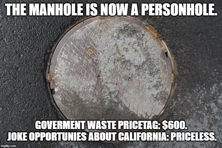 THE MANHOLE IS NOW A PERSONHOLE. GOVERMENT WASTE PRICETAG: $600.  JOKE OPPORTUNIES ABOUT CALIFORNIA: PRICELESS. | image tagged in manhole,california,politically correct,gender equality,gender | made w/ Imgflip meme maker
