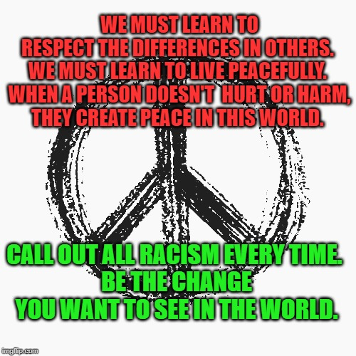 Create Peace in this world | WE MUST LEARN TO RESPECT THE DIFFERENCES IN OTHERS.  WE MUST LEARN TO LIVE PEACEFULLY.   WHEN A PERSON DOESN'T  HURT OR HARM, THEY CREATE PE | image tagged in trump,peace,violence,change,hope | made w/ Imgflip meme maker