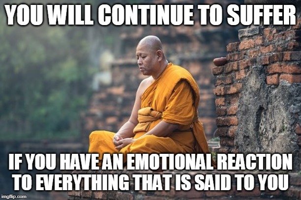 Relax and Stop Reacting | YOU WILL CONTINUE TO SUFFER IF YOU HAVE AN EMOTIONAL REACTION TO EVERYTHING THAT IS SAID TO YOU | image tagged in memes | made w/ Imgflip meme maker