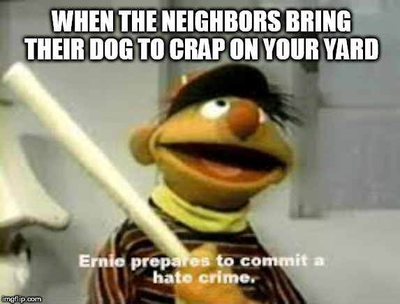 Ernie Prepares to commit a hate crime |  WHEN THE NEIGHBORS BRING THEIR DOG TO CRAP ON YOUR YARD | image tagged in ernie prepares to commit a hate crime | made w/ Imgflip meme maker