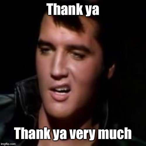 Elvis, thank you | Thank ya Thank ya very much | image tagged in elvis thank you | made w/ Imgflip meme maker