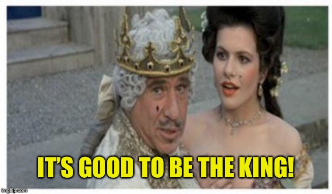 Mel brooks king | IT'S GOOD TO BE THE KING! | image tagged in mel brooks king | made w/ Imgflip meme maker